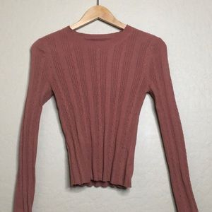 Orange Long Sleeve Fitted Sweater [AMERICAN EAGLE]
